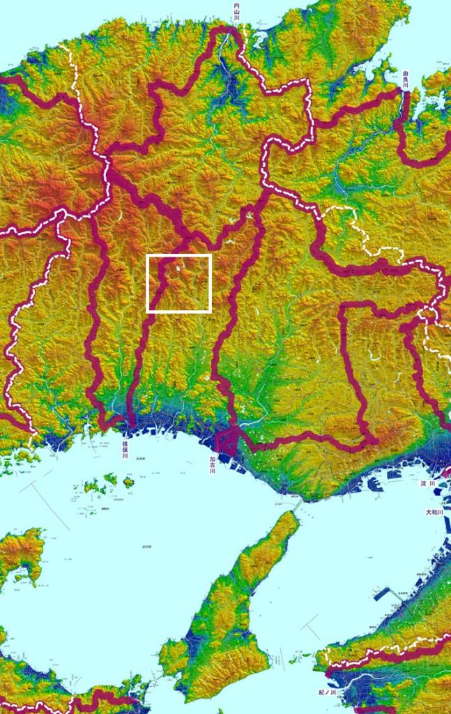 兵庫県の立体地図