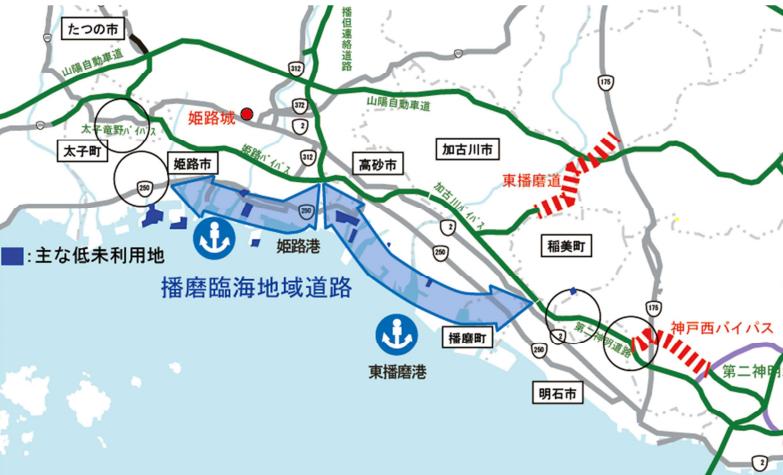 播磨臨海地域道路のルート図