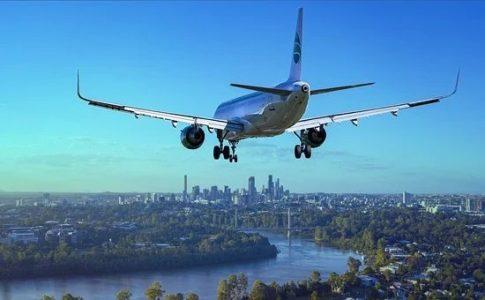 航空機と町並み