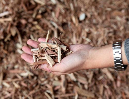 小さく破砕された木材