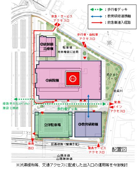 県立はりま姫路総合医療センターの設計配置図
