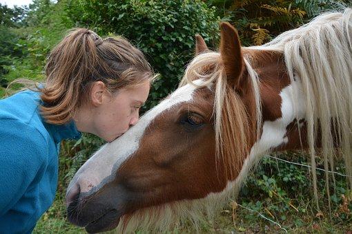 馬にキスする少女