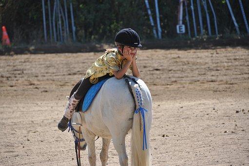 白馬と遊ぶ少年
