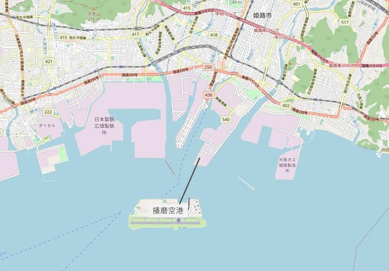 姫路沖の空港イメージ地図