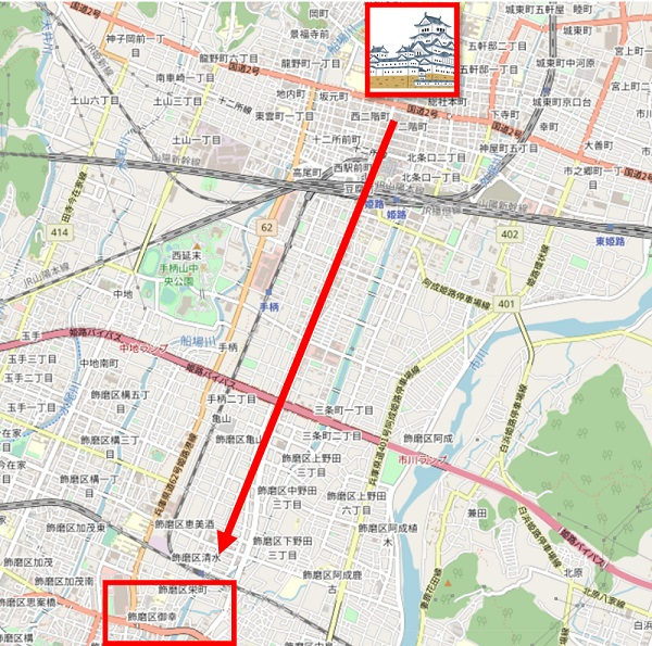姫路城から飾磨津の地図