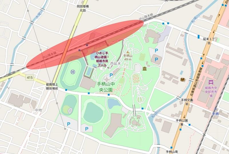 手柄山にできる新駅の予定位置の地図