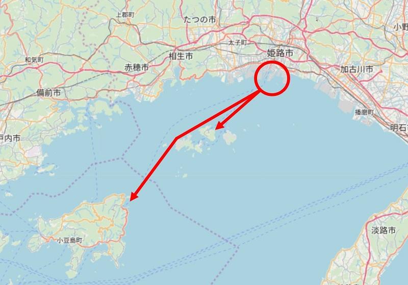 姫路から家島・小豆島の航路地図