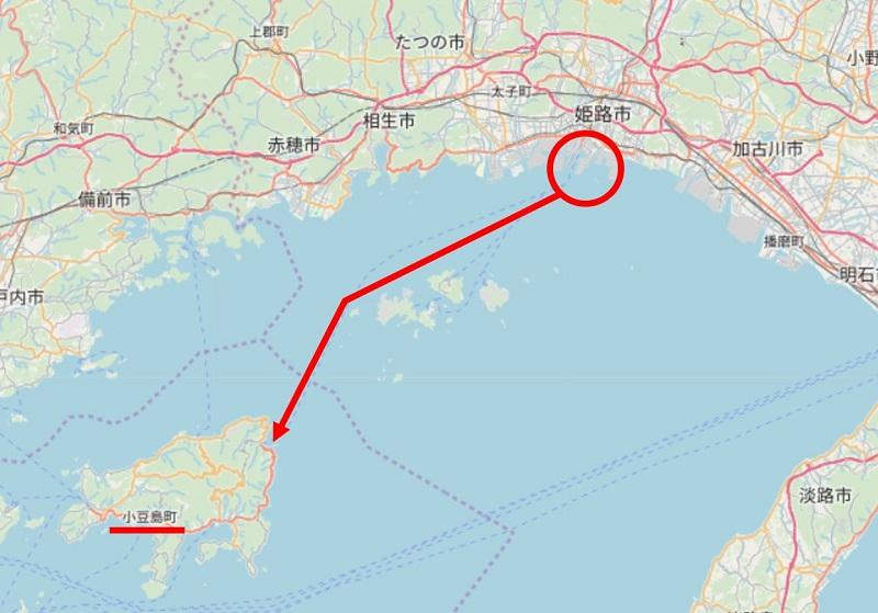 姫路から小豆島行きの航路地図