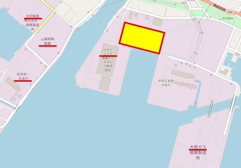 建設予定地の地図