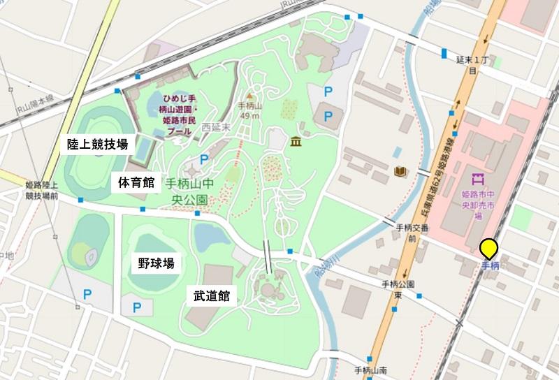 手柄中央市場周辺の地図