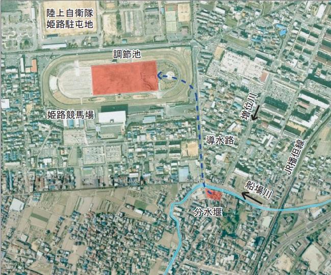 競馬場調整池の工事図