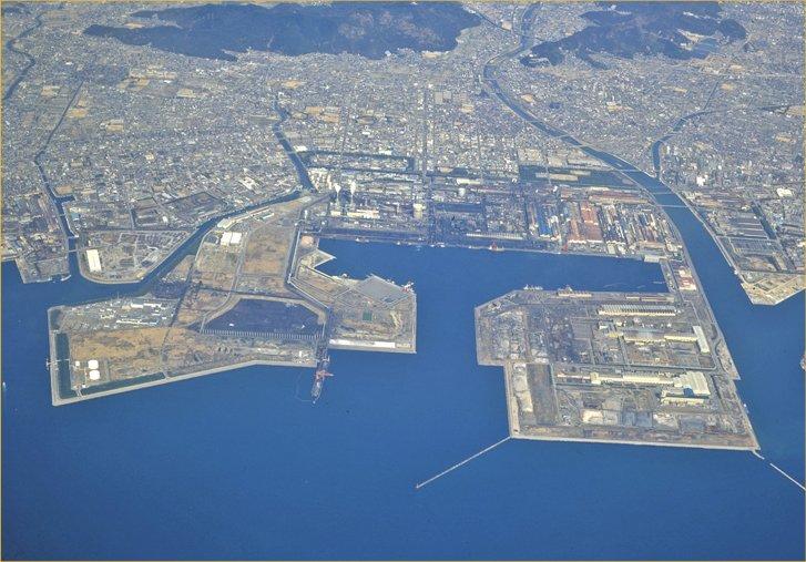 日本製鉄広畑を上空から見た全景
