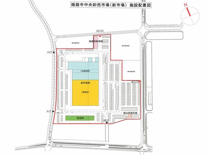 姫路市新市場の施設配置図