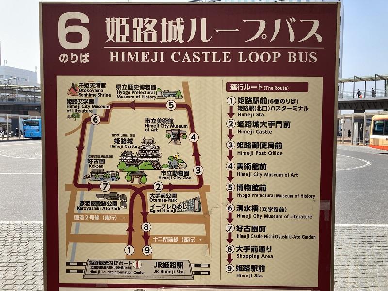 姫路城ループバスの路線図