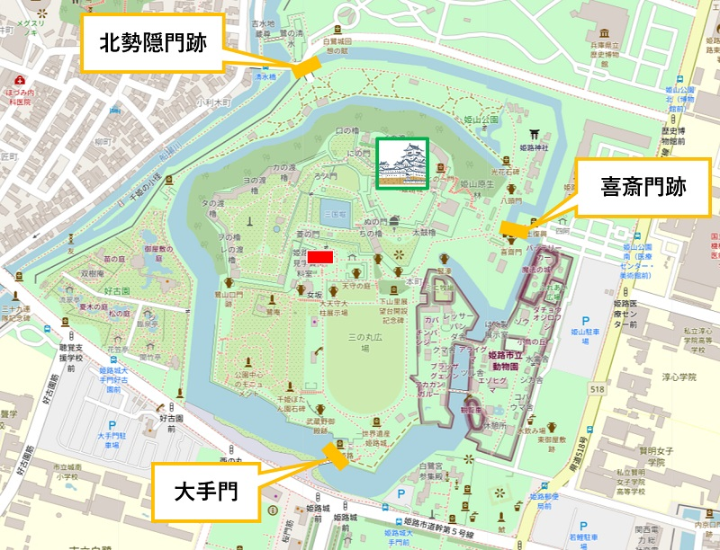 姫路城入口の案内図