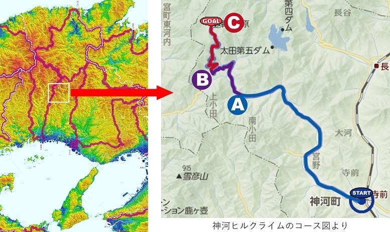 神河ヒルクライムのコース図