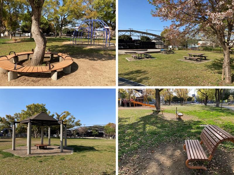御立公園のベンチ